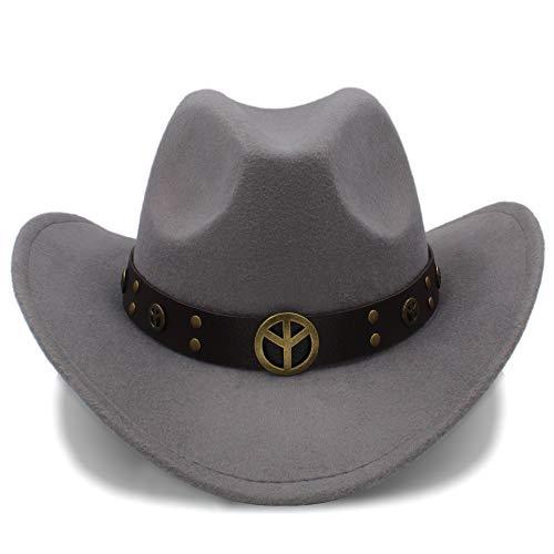 M.J.ZUR Herren Cowboyhut Wildleder Look Wild West Kostüm Herren Cowgirl Hut Roll-Up Hut (Farbe : Grau, Größe : 56-58CM)
