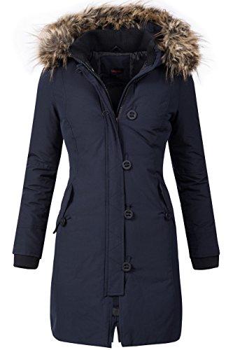 Winterjacke | Wintermantel für Damen Modell DV-066 - eleganter Kurz-Mantel im schlanken Parka-Stil mit Fellkapuze aus Kunstpelz ideal für den Winter in Blau, Größe XXL