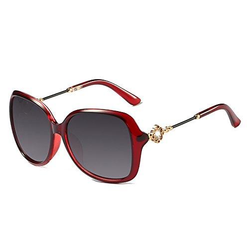 Die neuen Sonnenbrillen Sunyan rundes Gesicht Sonnenbrille Frau tide Sterne, mit Brille, Retro langes Gesicht rot, Wein rot zu Gesicht