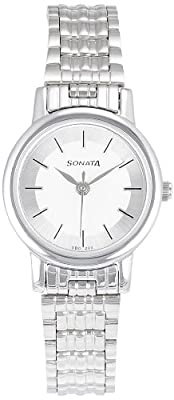 Sonata Analog White Dial Women's Watch -NJ8976SM01W