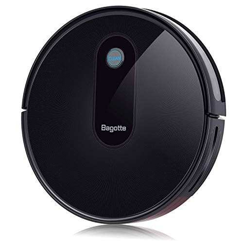 Bagotte BG600 robotic vacuum cleaner with a strong suction 1500 Pa (100 min duration) more quiet and flat vacuum cleaner with a powerful high performance filters, ideal for pet owners,tiles and more