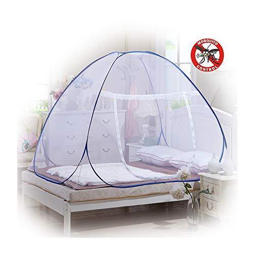 Moustiquaire en forme de dôme à installation facile, pliable, protège des insectes - Tente pop up pour lits et chambre à coucher - Rechel, blanc, 180*200*150cm