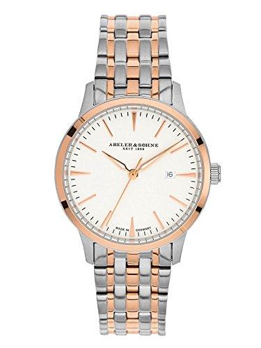 Abeler & Söhne fabricado en Alemania–Reloj de pulsera para mujer con correa de acero inoxidable, cristal de zafiro y fecha as3024m
