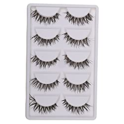Magideal 5 Pairs Beauty Makeup Handmade Messy Cross Style False Eyelashes White