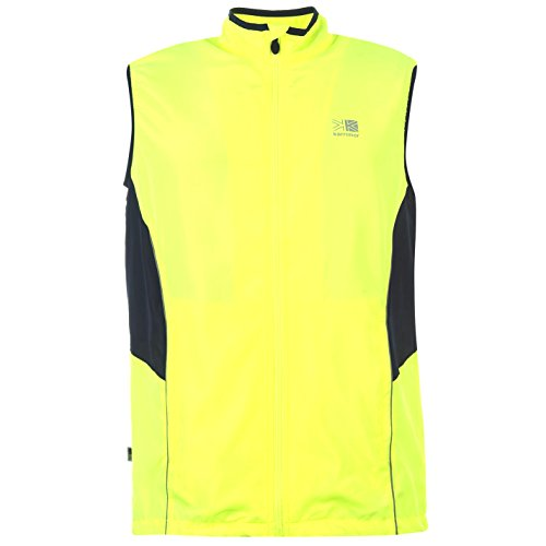 mens hi viz running vest gillet bright fluorescent yellow and reflective safety detail. highly visible to road users motorists drivers cars. free sports emergency safety id card worth £19.99