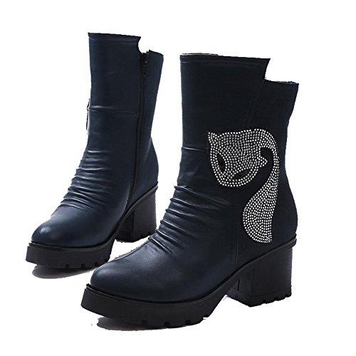 AgooLar Damen Hoher Absatz Niedrig-Spitze Reißverschluss Stiefel mit Beschlagene Strass Blau