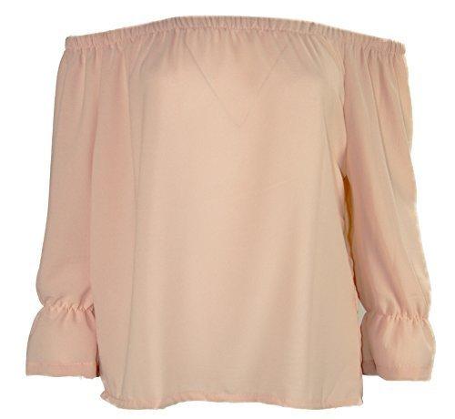 K01 Nouvelles Femmes Épaule Découverte Mousseline De Soie T-shirt Haut Chemisier En Grande Taille 08-26 Couleur Pêche