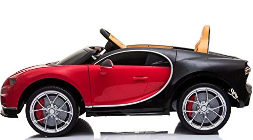 Indalchess Coche ELÉCTRICO Infantil Bugatti CHIRON 12V, Rojo, Mando RC Parental