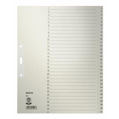 Leitz Papier-Register 1231-85 DIN A4, 1-31, 31-teilig, grau