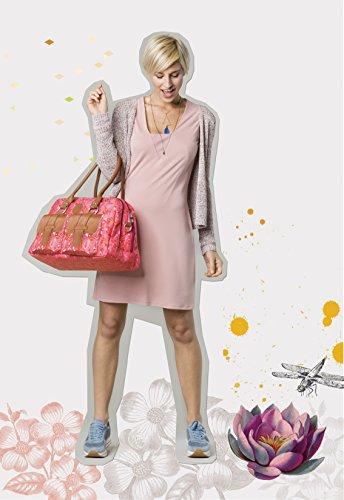 Lässig Vintage Metro Bag Wickeltasche/Babytasche inkl. Wickelunterlage Twill, choco Paisley pink