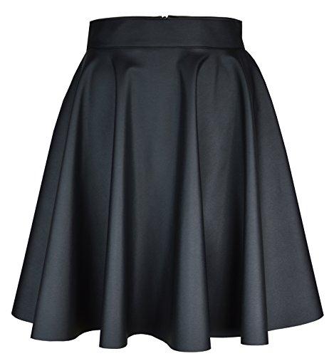 Roban Fashion ® Damen Röcke Wetlook Hohe Taille Hippie Röck Flared Ausgestellt Lederrock Midi Mini (44/L Taille 82cm, Schwarz-Midi) (Taille Hohe Mini)