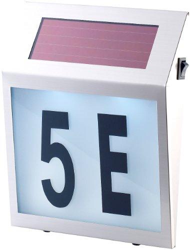 Lunartec Solar-LED-Hausnummernleuchte mit Edelstahl-Gehäuse und Licht-Sensor