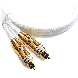 Akord Toslink Optisches Kabel hohe Auflösung 24K vergoldet kompatibel Blu-ray, DTS, Dolby Surround, DVD, PC, PS3, Xbox, PS4, Xbox One weiß