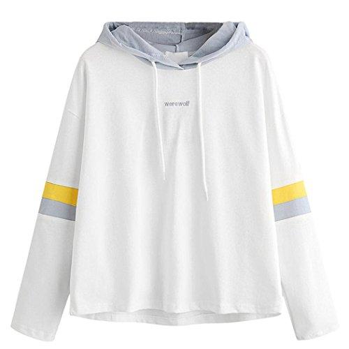 WOCACHI Damen Kapuzenpullover Mode Frauen Langarm Buchstaben stickereien gestreiften patchwork Oversize Weiß Hoodie sweatshirt pullover Tops bluse (XL/40, Weiß) (Nasa Kostüme)