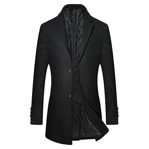 Homme Trench Coat Manteaux Long d'hiver Mode Chaud Veste Longue Laine Mince Classique Blazer Outwear, Noir, L