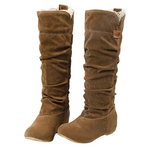 ENMAYER Womens High Heel PU Matériel Knee High Boots Wedges Chaussures chaudes pour femme Winter Boots Jaune1