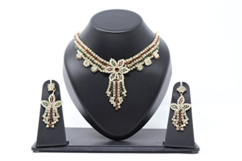 Inglis Lady Ideal Traditional Immitation jewellery Gold American Diamond Plated Golden Brass Earrings Drop Earring Imitation Stone Mangalsutra Necklace Set Black Bead Chain For Women