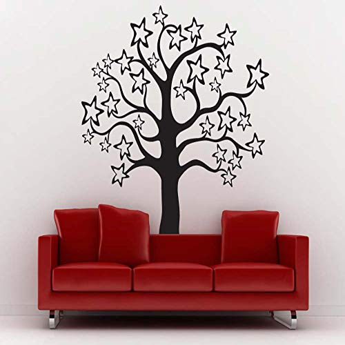 Geiqianjiumai All-Star Pattern Sweet and Lovely Vinilo Wall Tree Pattern Cute Home Kindergarten Arte Decorativo decoración de la Pared Pegatinas de Pared Negro 60X65CM