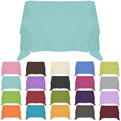 Nurtextil24 Sofaüberwurf in 30 Farben und 4 Größen Überwurf aus 100% Baumwolle Türkis 210 x 240 cm