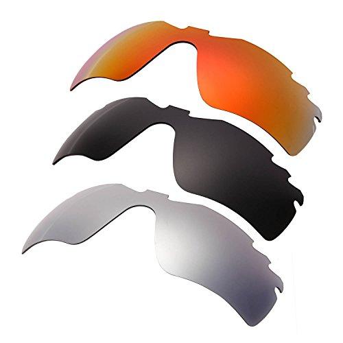 HKUCO Plus Mens Replacement Lenses For Oakley Radar Path-Vented Red/Black/Titanium Sunglasses