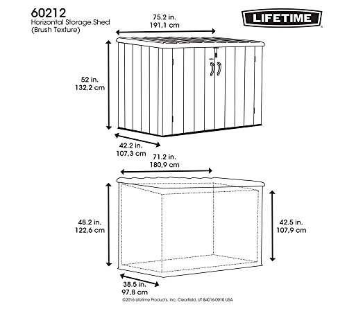 Lifetime Mülltonnenbox Kunststoff Mülltonnenbox, Gerätebox, Aufbewahrungsbox Dunkelgrau - 2