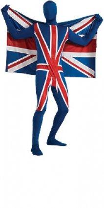 Second Skin Anzug für Erwachsene (Union Jack Britische Flagge) Verkleidung Extra Large Extra (Union Jack Anzug)
