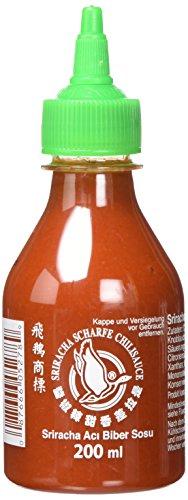 FLYING GOOSE Sriracha scharfe Chilisauce - scharf, grüne Kappe, Würzsauce aus Thailand, 3er Pack (3 x 200 ml)