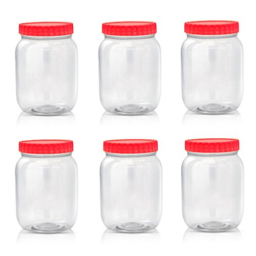 sunpet-large-red-top-plastic-food-storage-canister-size-1000-ml-pack-of-6