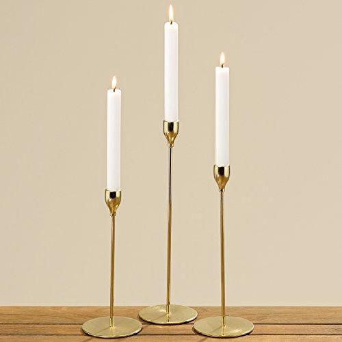 3er Set Kerzenleuchter Malte 23 bis 33cm Gold Kerzenständer Tischleuchter