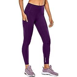 Yowablo Damen Stretch Leggings Hohe Taille und Enge Fitness Yoga Hosen nackt versteckte Tasche Yoga Hosen (S,1Lila)