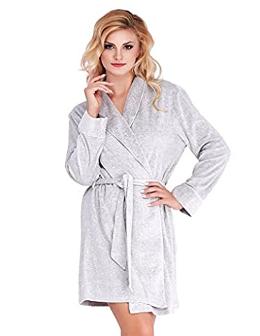Mio Lounge Grey Velour Robe ML16V1RB S-M