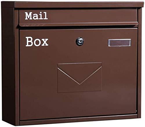 H.aetn Briefkasten Großraum-Briefkasten, außen braun Zeitungsmagazin für die Wandmontage Regenfester Retro-Briefkasten mit Schloss und Schlüsseln , 36x10,5x32cm Briefkästen für die Wandmontage