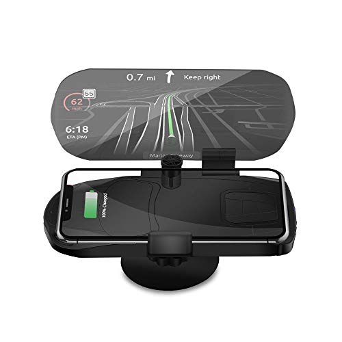 CONRAL Qi Fast Wireless Charging Auto HUD Halter, Auto Head Up Display GPS Navigation Reflexion Handyhalterung Film Klarglas Smartphone Halterung Wiege für iPhone Samsung Nokia,Black1