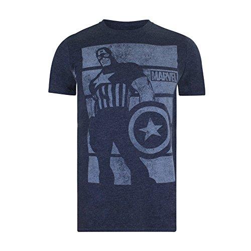 Marvel Herren T-Shirt Captain America Bars Blue (Heather Navy)