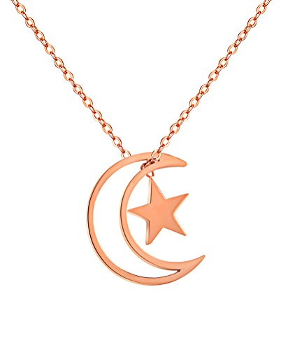 hijoens-donna-acciaio-inossidabile-oro-rosa-placcato-moon-crescent-con-piccola-collana-di-pendente-a
