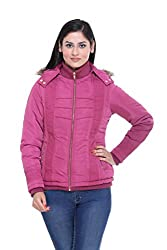 Trufit Full Sleeves Solid Womens Plum Quilted Removable Hood Golden Zip Polyester Bomber Jacket