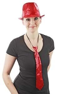 Foxxeo 10136-Rt | Paillettenkrawatte Krawatte Pailletten rot rote Pailettenkrawatte Giltzer Pailetten