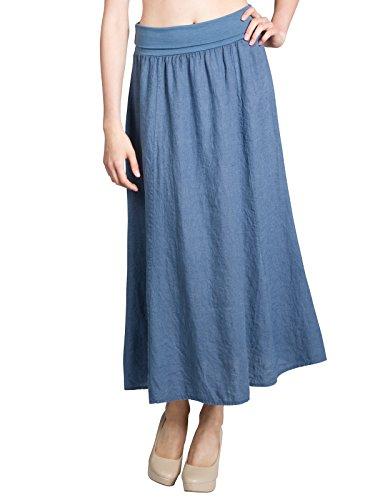 CASPAR RO019 Damen langer Maxi Sommerrock/Leinenrock/Maxirock mit figurfreundlichem hohem Stretch Bund, Farbe:jeans blau;Größe:44 XXL UK16 - Jeans-rock Lang
