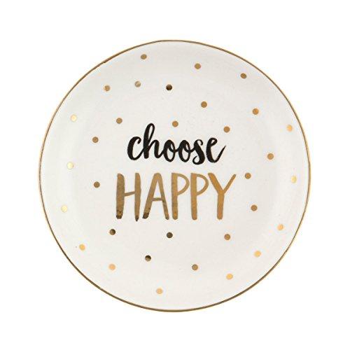 'Choisissez Happy' métallique plat à bijoux