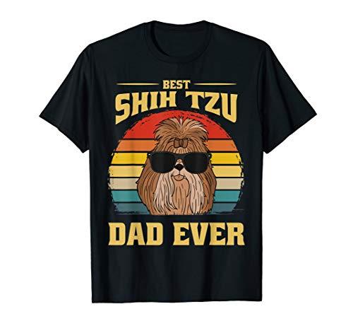 Shih Tzu Hund Welpe Retro Papa Vater Dad Lustig Geschenk T-Shirt