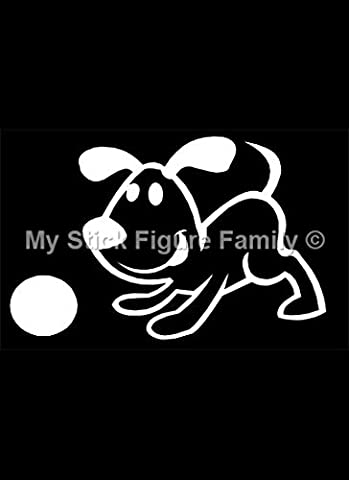 Official My Stick Figure Family Car Window Vinyl Sticker Dog with Ball PD4
