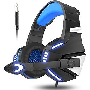 VersionTech PS4Gaming Headset über Ohr Kopfhörer mit Mikrofon und Beleuchtung Effekt für Xbox One PS4Spiele (blau)