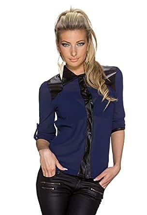 3960 Fashion4Young Damen Langarm Damen Bluse aus Chiffon Top T-Shirt Tunika Hemd 5 Farben Gr. 34/36 (34/36, Dunkelblau)
