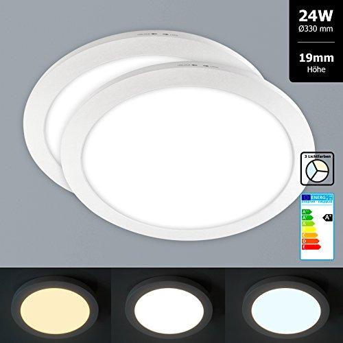 2x Xtend Mini Aufputz LED Panel rund Ø330mm Lichtfarbe veränderbar 3CCT warmweiß neutralweiß tageslicht 24W nur 1,9cm hoch Integriertes Netzteil Inkl. Montagematerial als Deckenleute oder Wandleuchte verwendbar
