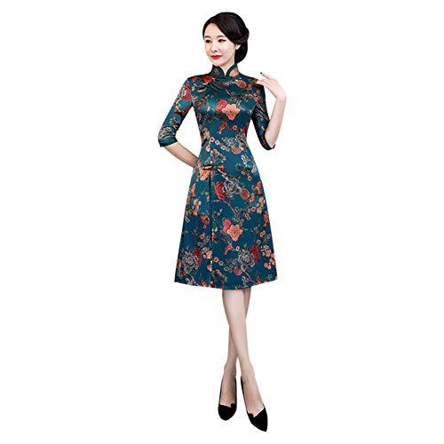 Meijunter Damen Chinesisches Qipao - Vorderer Schlitz Cheongsam Elegantes Vintage Abendkleid Partykleid