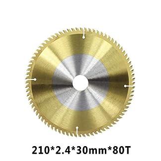 ZhuJinSheng Pieza de corte1pc 210mm 24/80 Dientes Disco de Corte de Madera Recubrimiento de Tin Hoja de Sierra de carburo TCT Hoja de Sierra Circular para carpintería