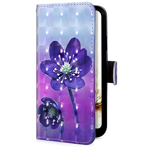 Uposao Handyhülle für Samsung Galaxy S8 Plus Bling Glitzer Klapphülle Hülle Leder Schutzhülle Flip Case Leder Tasche im Bookstyle Lederhülle Handytasche,Lila Blumen