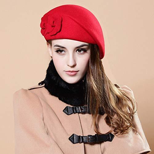 SED Damen Hüte - Herbst Und Winter Mode Atmosphäre Herbst Und Winter Woolen Baskenmütze Damen Hüte England Van Hut Warm,Hellrot,Einheitsgröße