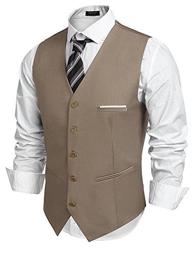 COOFANDY Herren Anzugweste Gentleman Basic Mode Einreiher Fünf Knöpfe Weste Braun XL (5-knopf-weste)