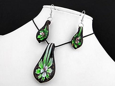 Ecloud Shop® En forme de feuille de mode en verre de Murano fleur collier pendentif belles boucles d'oreilles